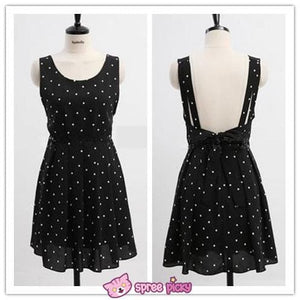 2 Pieces Set White Top and Snow Dots Black Chiffon Dress SP151869 - SpreePicky  - 2