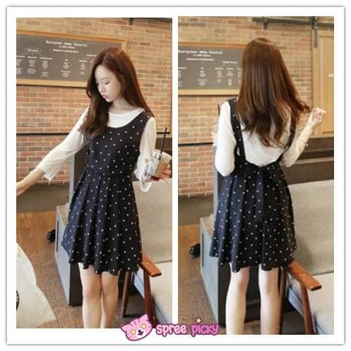 2 Pieces Set White Top and Snow Dots Black Chiffon Dress SP151869 - SpreePicky  - 1