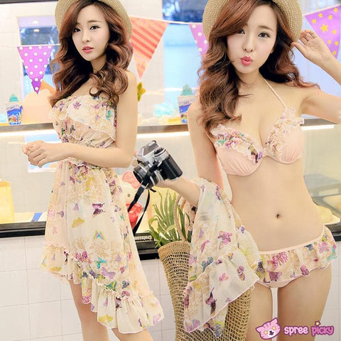 [M/L/XL] 3 Colors 3 Pieces Set  Bikini Swimsuit SP151899 - SpreePicky  - 2