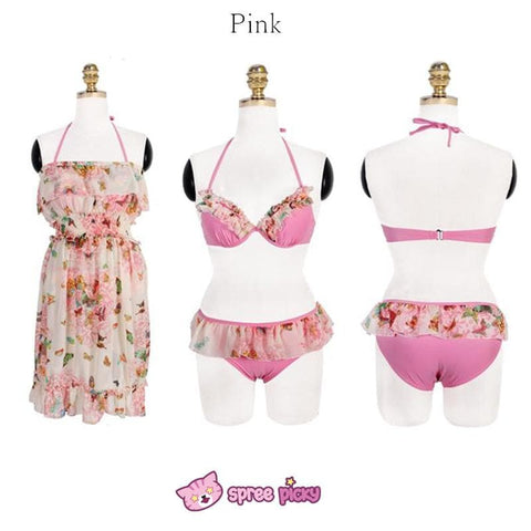 [M/L/XL] 3 Colors 3 Pieces Set  Bikini Swimsuit SP151899 - SpreePicky  - 5