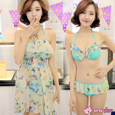 [M/L/XL] 3 Colors 3 Pieces Set  Bikini Swimsuit SP151899 - SpreePicky  - 1