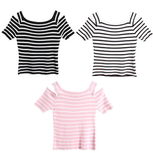 3 Colors Cute Japanese Girl Stripe Shirt SP152302 - SpreePicky  - 1