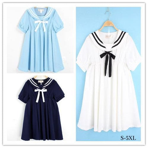 S-5XL 3 Colors Cutie Sailor Dress SP152287