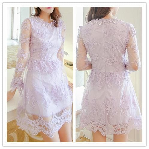 S/M/L 3 Colors Embroidery Lace Princess Dress SP152022 - SpreePicky  - 2