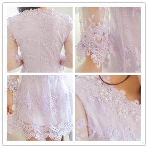 S/M/L 3 Colors Embroidery Lace Princess Dress SP152022 - SpreePicky  - 4