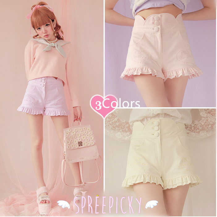 3 Colors Heart Shape Embroidery Agaric Lace Hot Shorts SP141154 - SpreePicky  - 1