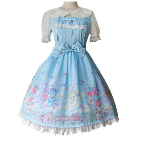 S-XL 3 Colors [Infanta] Lolita Candy Bears JSK Dress SP152081 - SpreePicky  - 4