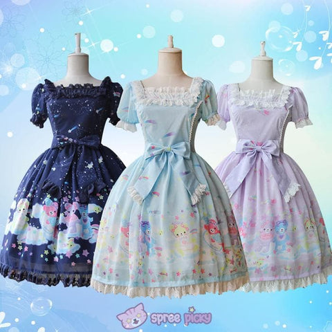 S-XL 3 Colors [Infanta] Lolita Candy Bears OP Short Sleeve Dress SP152082