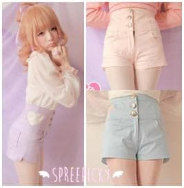 3 Colors J-Fashion Sweet Heart Hollowed-Out High-Waisted Jean Pants Shorts SP140671