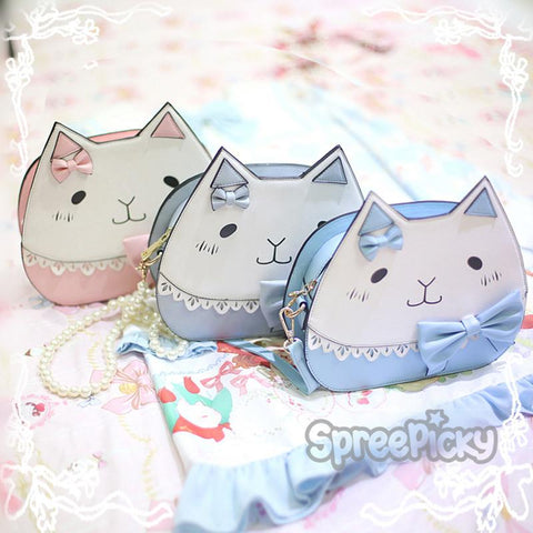 3 Colors Kawaii Neko Cat Bow Crossbody Bag SP178858