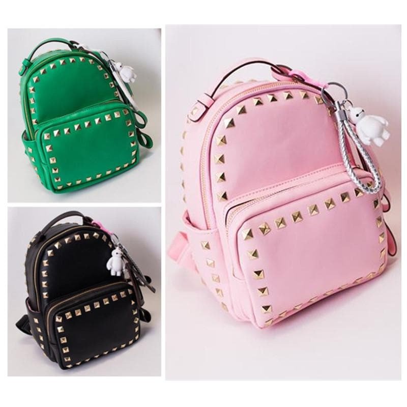 3 Colors Macaron Rivet Small Size Backpack SP152024 - SpreePicky  - 1