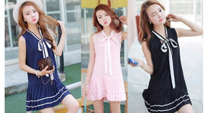 3 Colors Mori Girl Bowknot Sleeveless Sailor Dress SP152630 - SpreePicky  - 2