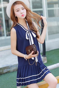 3 Colors Mori Girl Bowknot Sleeveless Sailor Dress SP152630 - SpreePicky  - 3