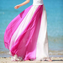 Load image into Gallery viewer, 3 Colors Summer Bohemia Chiffon Joint Color Ball Gown Long Skirt SP140517 Kawaii Aesthetic Fashion - SpreePicky