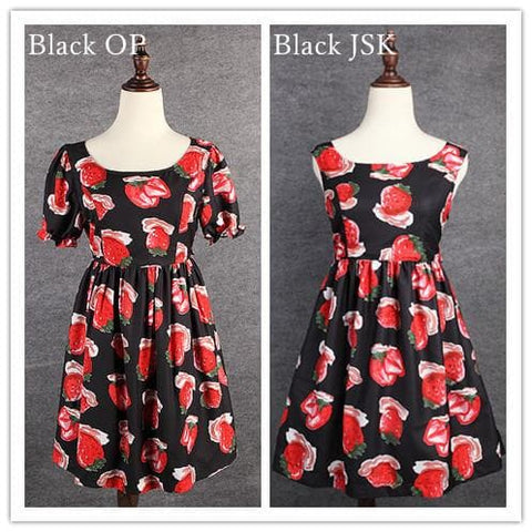 S/M/L 3 Colors Sweet Sweet Strawberry OP/JSK Dress SP152247 - SpreePicky  - 3