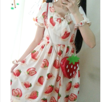 S/M/L 3 Colors Sweet Sweet Strawberry OP/JSK Dress SP152247 - SpreePicky  - 1