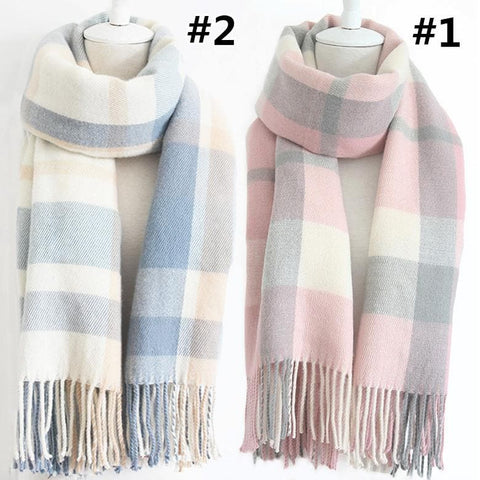 3 Colors Warming Grid Long Scarf SP168510