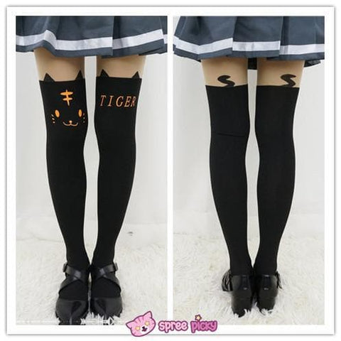 White Bunny | Black Tiger Fake Over Knees Tights SP141462 - SpreePicky  - 3