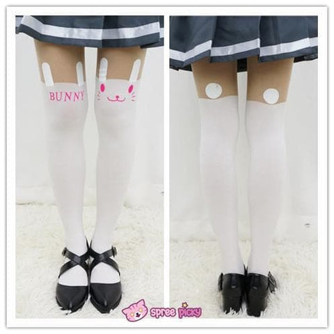 White Bunny | Black Tiger Fake Over Knees Tights SP141462 - SpreePicky  - 2