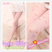 Cat Faces Pale Pink Printing Tights free shipping SP130025 - SpreePicky  - 1