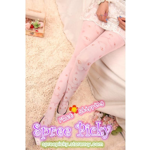 Cat Faces Pale Pink Printing Tights free shipping SP130025 - SpreePicky  - 2