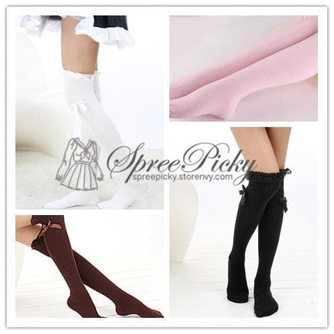 J-fashion Lace Bow Thigh Over Knee Stocking Tights Free Shipping SP130018