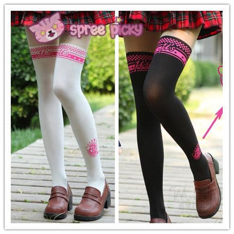 White/Black [Love Live] Fake Over Knee Thigh High Tights SP152789