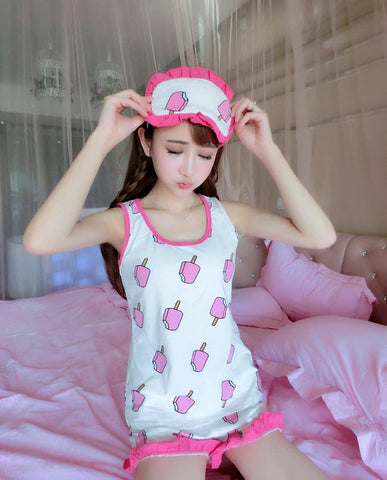 Adorable Strawberry/Watermelon/Ice Stick Vest Pajamas Home Wear Set SP166872