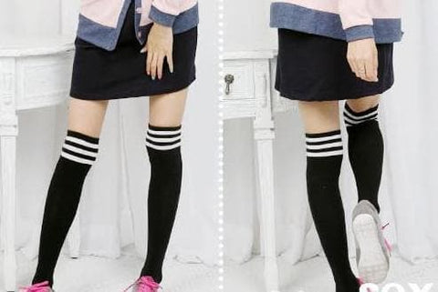 8 Colors Stripes Thigh High Over Knee Socks SP153576 - SpreePicky  - 7