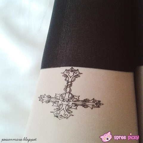 [3 for 2] Gothic Cross Fake Over Knee Thigh High Tights SP140914 - SpreePicky  - 5