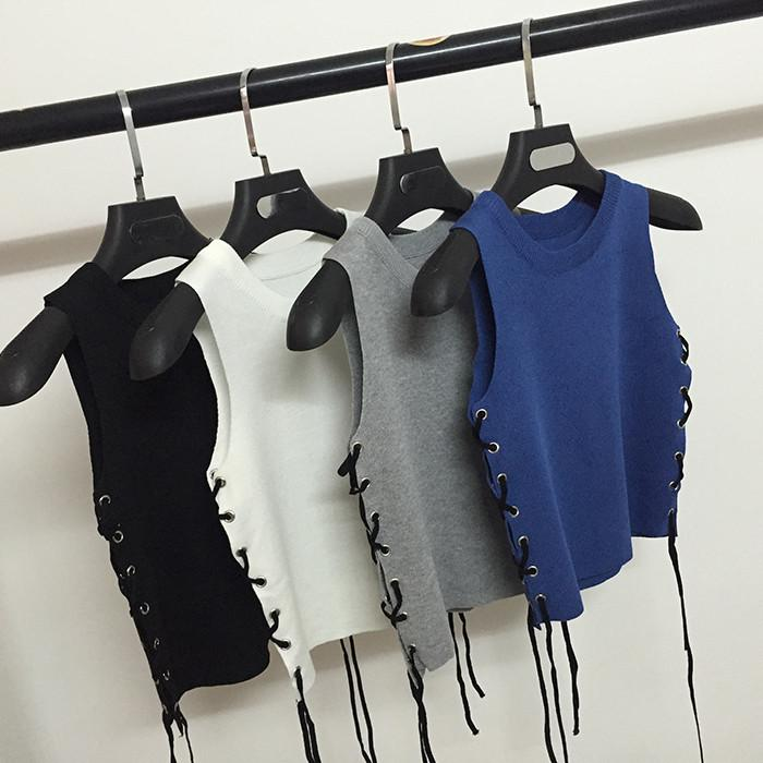 4 Colors Bandage Knit Vest SP179055