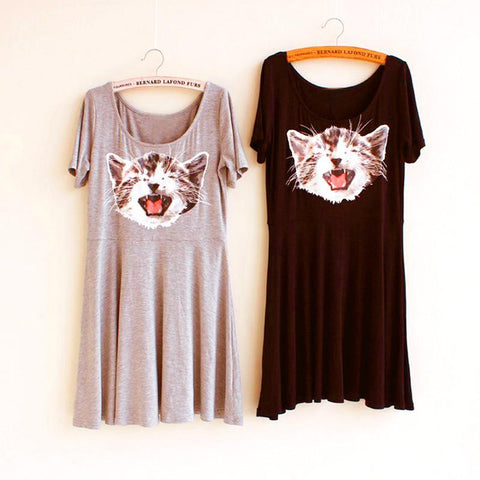 4 Colors Casual Happy Cat Dress SP1710150