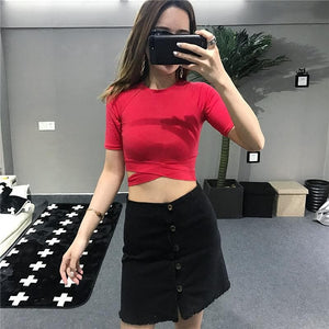 4 Colors Crossbottom Laced Crop Top SP1710347