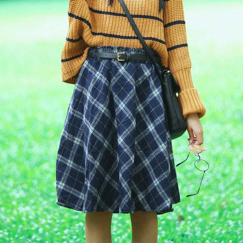 4 Colors England Grids Skirt SP154145 - SpreePicky  - 4