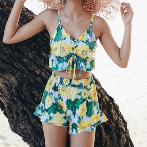 4 Colors Floral Summer Three-Piece Swimsuit SP1710149