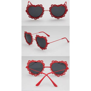 4 Colors Hearts with Lace Frame Sunglasses SP152086 - SpreePicky  - 5