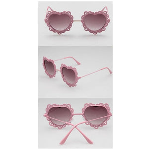 4 Colors Hearts with Lace Frame Sunglasses SP152086 - SpreePicky  - 6
