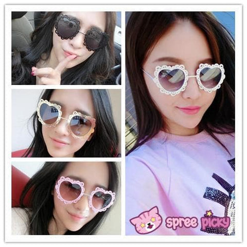 4 Colors Hearts with Lace Frame Sunglasses SP152086 - SpreePicky  - 1