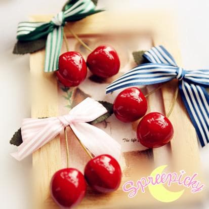 4 Colors J-fashion Kawaii Cherry with Bow Hair Clip SP140430