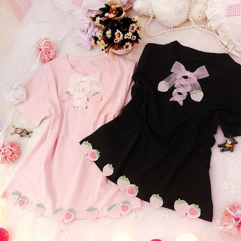 4 Colors Kawaii Mori Girl Strawberry Lace Top SP178845
