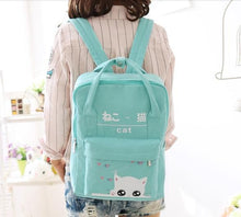 Load image into Gallery viewer, 4 Colors Kawaii Kitty Cat Preppy Style Canvas Backpack SP178888