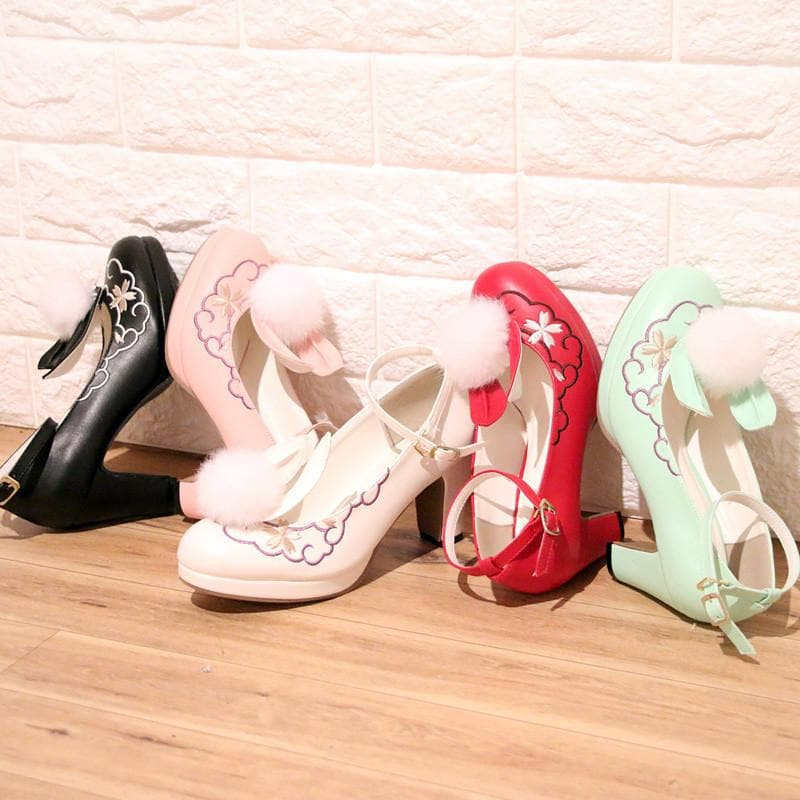 4 Colors Lolita Sweet Bunny Shoes SP179654