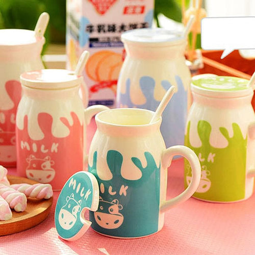 4 Colors Milk Ceramic Cup With Cover And Spoon SP178649