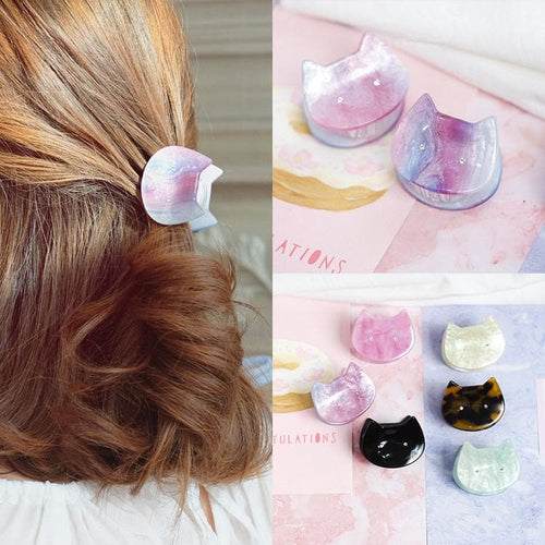 4 Colors Pastel Marble Kitty Hair Clip SP1812192