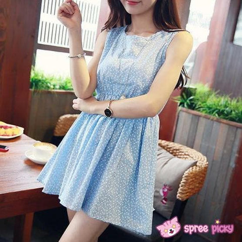 Blue/White/Green/Yellow Colors Pastel Mori Girl Floral Sleeveless Dress SP151946 - SpreePicky  - 2