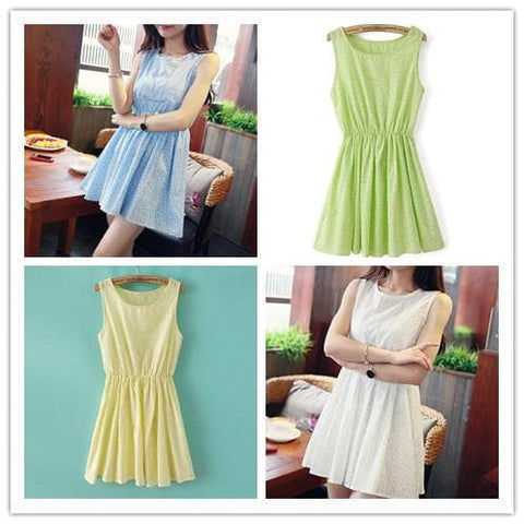 Blue/White/Green/Yellow Colors Pastel Mori Girl Floral Sleeveless Dress SP151946 - SpreePicky  - 1