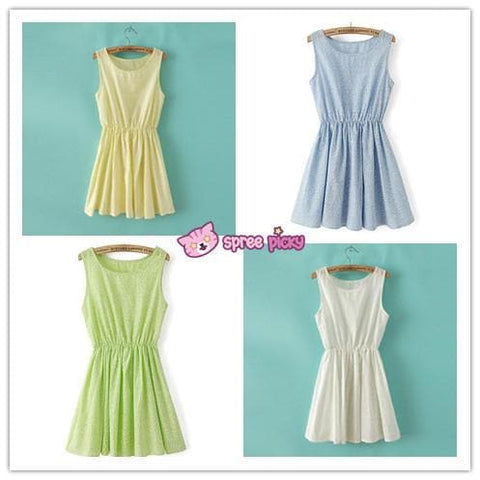 Blue/White/Green/Yellow Colors Pastel Mori Girl Floral Sleeveless Dress SP151946 - SpreePicky  - 3