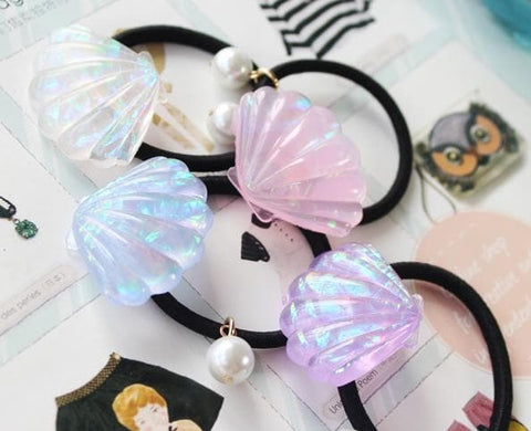 4 Colors Bling Bling Mermiad Sea Shell Hair Ring SP167376