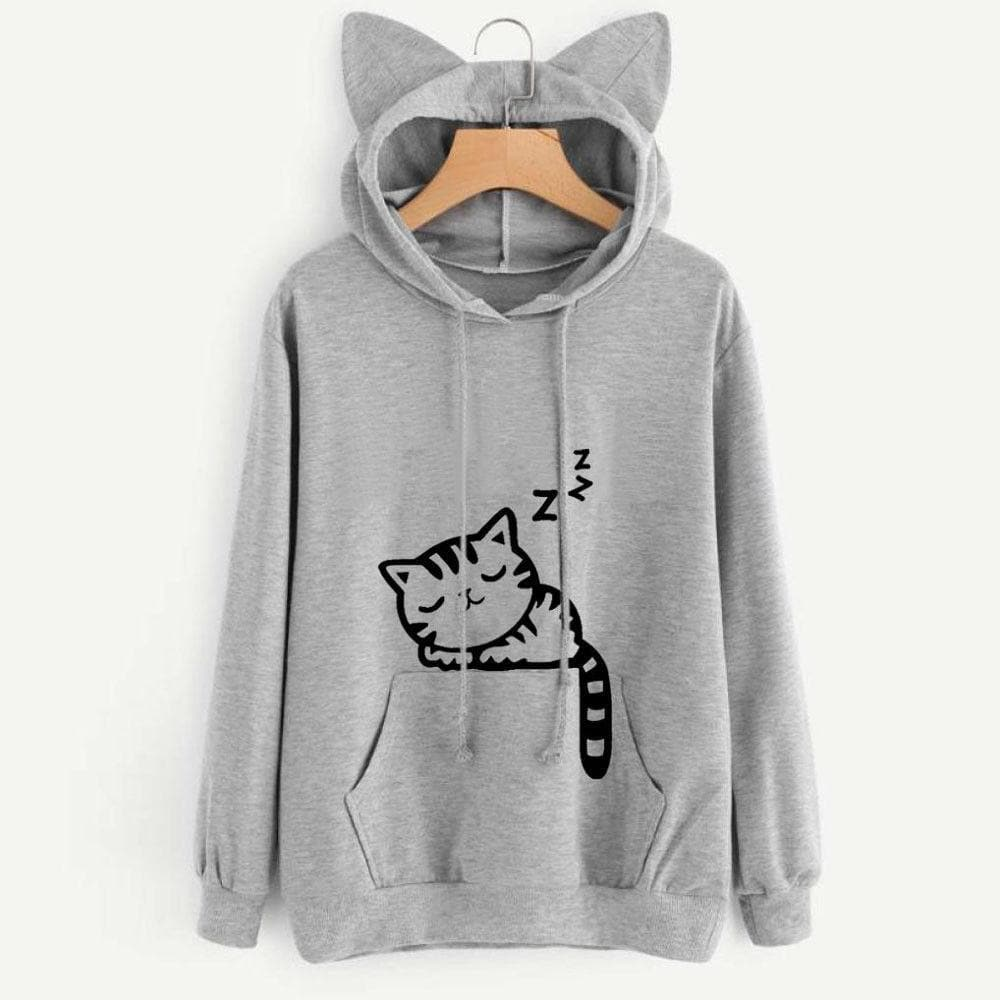 4 Colors Sleepy Kitten Hoodie Jumper SP1812172