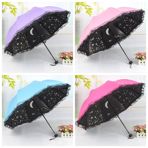 4 Colors Starry Lace Foldable Umbrella SP1812560